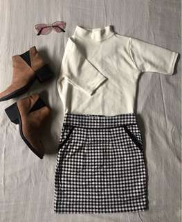 Turtleneck Shirt and Checkered Skirt