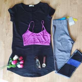 Tshirt dress and leggings bra