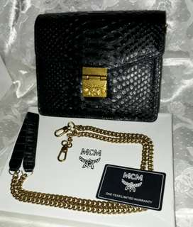 High End MCM Gold Chain Leather Satchel