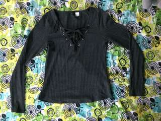 Lace up Long Sleeved H&M Top