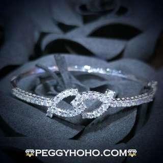 【Peggyhoho】全新18K白金1卡26份真鑽石手厄|罕有大睇|靚石鑽石手厄