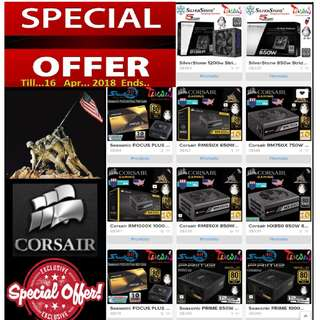 """(GTX 1080 ) Corsair, Seasonic, CoolerMaster, SilverStone.....PSU.....etc.... Special Offer.   ( Till 17 Apr 18..Ends..) """"Hurry Grab it while..Stock Last.."""""""