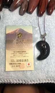 富士山熔岩石勾玉 產量稀少 有日本熔岩石證書