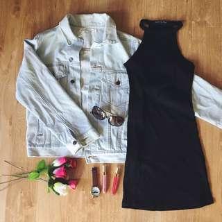 Denim jacket and tshirt dress