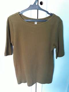 3/4 Olive Green top