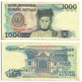FWR204974 INDONESIA BANKNOTE 1000 RUPIAH
