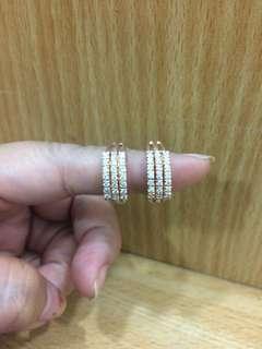 Berlian medan - cincin baris 3 rata