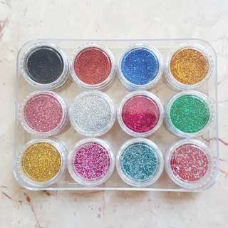 12 Colours Nail Art Glitter Powder Dust / 12 Warna Gliter Kuku Bubuk