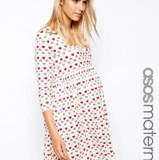 ASOS maternity skater dress in heart print