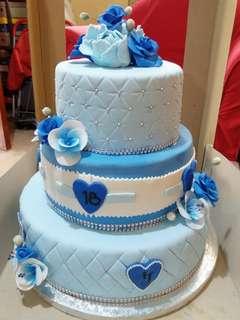 Blue Debut Cake
