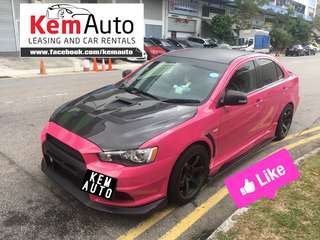 Rare Pink Mitsubishi Lancer EX 2.0A GT with EVO X bodykit / loud HKS Exhaust
