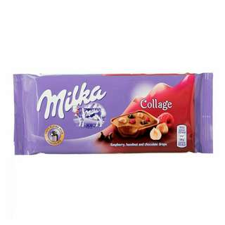 Milka 100g (New Flavour) 🍬Rasberry ,Hazelnut & Chocolate Drops (Collage)