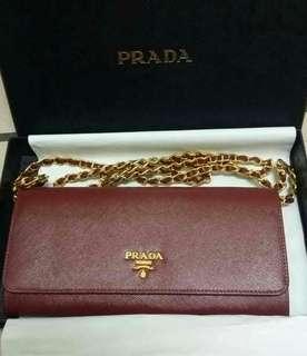 Prada saffiano leather wallet on chain woc crossbody bag 100% original #1M1290 【cerise color】
