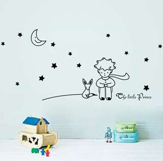 🍀The Little Prince With Fox Moon Star Kids Room Wall Sticker🍀