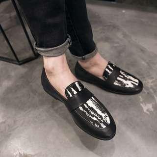 【H.BANDWAGON】真皮時尚拚色馬毛圓頭低跟樂福鞋 皮鞋 紳士鞋 布洛克鞋 婚鞋 男女 大尺碼