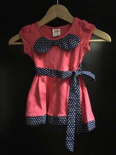 BNWT Pink & Blue Bow Cotton dress with white polka dots