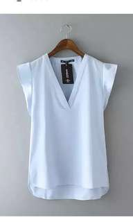 Atasan chiffon ruffle zara tank top sexy sleeveless blouse blus wanita cewek import top baju biru pastel