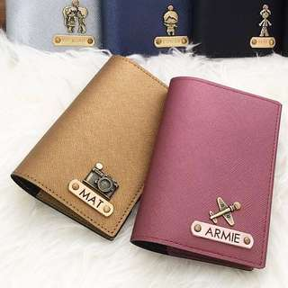 Personalised Passport Holder Travel Passport Cover Case Customised NAME Metallic Saffiano Dark Gold / Cinnamon Passport cover Without Charm. Add Charm $1 each. FREE SHIPPING