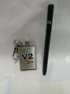 絕版全新 V2 MARTINI 不銹鋼火水劃火器匙扣及原子筆一套 2 件