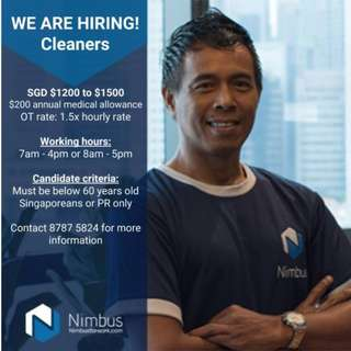 Hiring - Cleaning Staff (Full Time and Part Time)