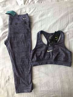 Nike Active Wear Set Purple Capri