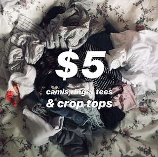 $5 each- cami, tanks, crop tops