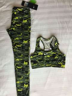 Nike Active Wear Set Green/Yellow Camo