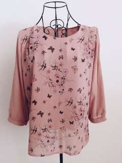 Top with floral & butterfly prints