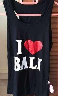 I love bali black tank top