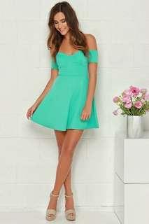 Off Shoulder Pastel/Mint Green Dress