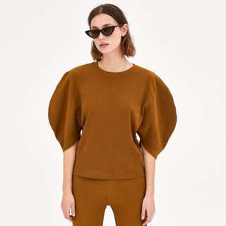 ZARA Textured Shirt with Puff Sleeves