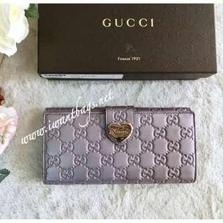 Gucci Guccissima Heart Long Wallet-Metallic Lilac