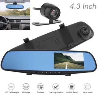 Clearance Sale! Ready Stock Front & Rear Car Mirror Dual Camera - Complete Set