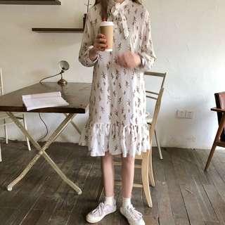 復古小清新碎花綁帶長袖洋裝