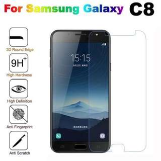 Samsung Galaxy C8 透明鋼化防爆玻璃 保護貼 9H Hardness HD Clear Tempered Glass Screen Protector (包除塵淸㓗套裝)(Clearing Set Included)