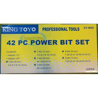 King Toyo Professional Tools 42 PC Power Bit Set