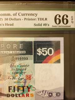 Solid 999999 Ship series $50 PMG 66 EPQ
