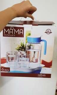 MAMA Glass Jug and Glass Cups