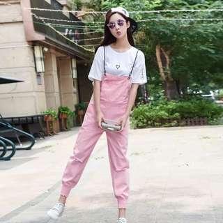 Trendy Pink Denim Jumpsuit