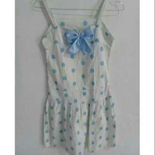Mini dress polkadot pita biru