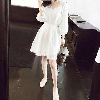 度假顯瘦小香風蕾絲白色洋裝裙