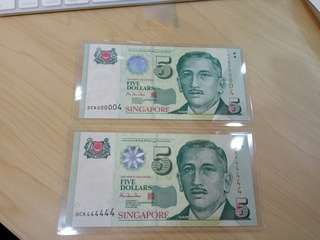 Singapore Portrait HTT $5 Dollars 2pcs low golden number 0CK 000004, 444444 UNC