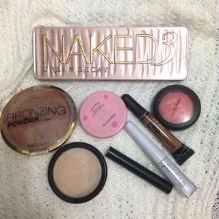 Makeup Bundle (Naked 3, H&m BRONZER, etude house and mac blush, authentic loose glittery powder, etc.)