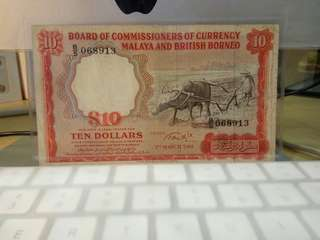 1961 Malaya Buffalo $10 Dollars B/5 068913 Fine minor repairs