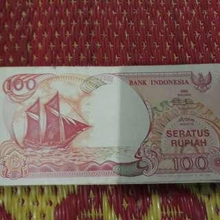 Uang lembaran 100 rupiah gambar perahu tahun 1992