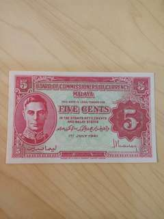 1941 Malaya 5 cents King George VI UNC minor paper clip mark