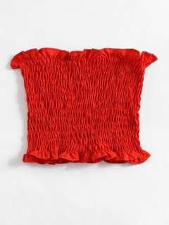 scrunched red crop top