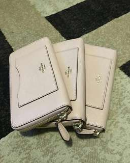 COACH ACCORDION ZIP WALLET IN CROSSGRAIN LEATHER IN NUDE PINK