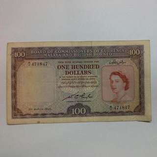Malaya $100 One hundred Dollars 1953 Queen Elizabeth II Banknote