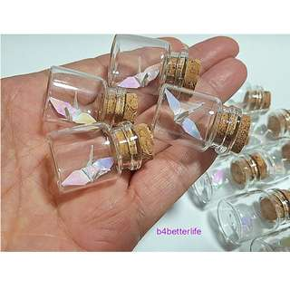 #CIB12r. Lot of 12pcs White Color 1-inch Hand-folded Paper Crane In A Mini Glass Bottle With Cork. (AV paper series).